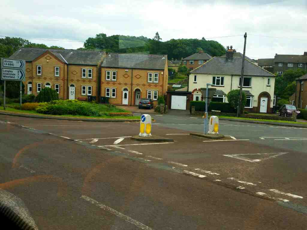 Junction of John Martin St and the A69 Haydon Bridge on a 685 Carlisle Newcastle bus