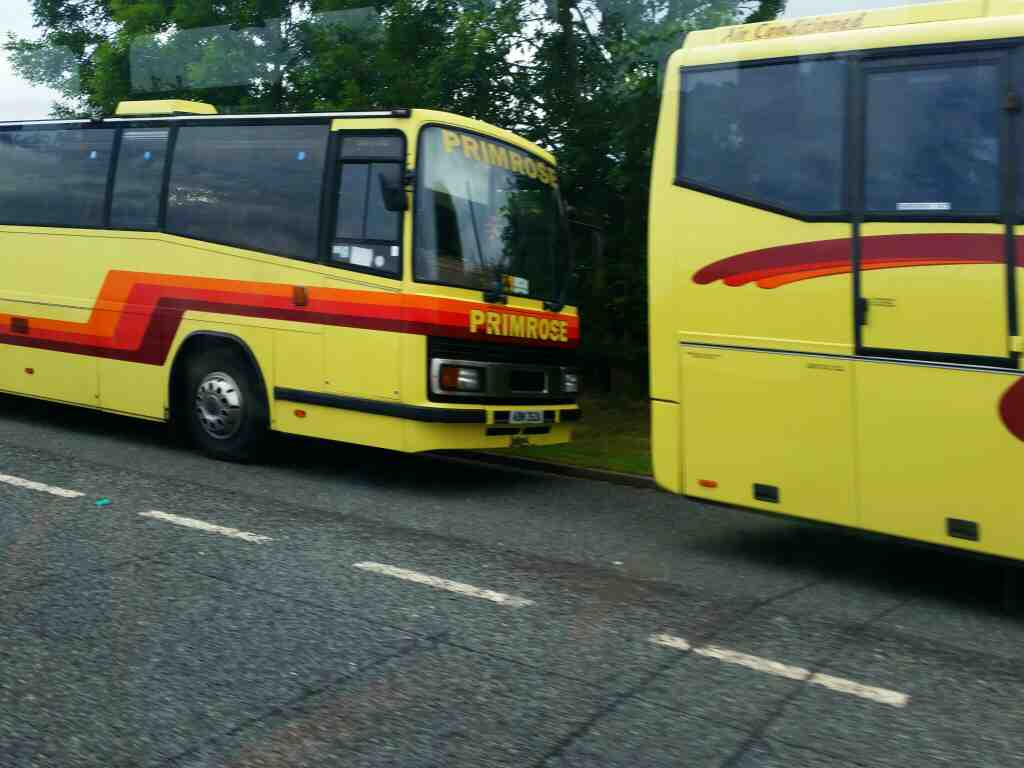 Primrose Coaches parked on the outskirts of Haydon Bridge on a 685 Carlisle Newcastle bus