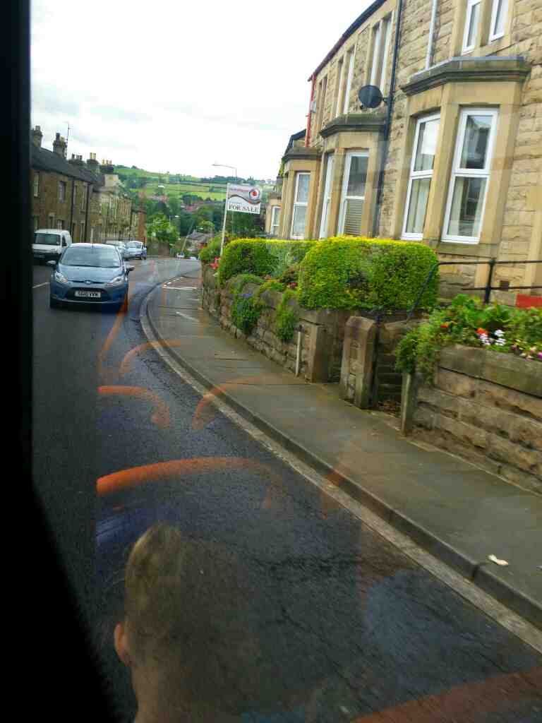 The B6531 Quatre Bras  Hexham Northumberland on a 685 Carlisle Newcastle bus