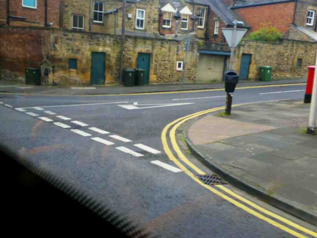 Junction of St Cuthburts Lane and Temperley Place Hexham on a 685 Carlisle Newcastle bus