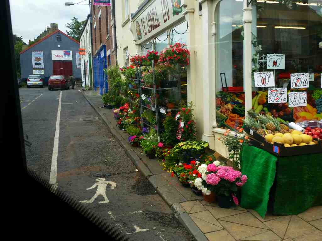 Turning into Hexham bus station passing TE Liddell Greengrocers on a 685 Carlisle Newcastle bus