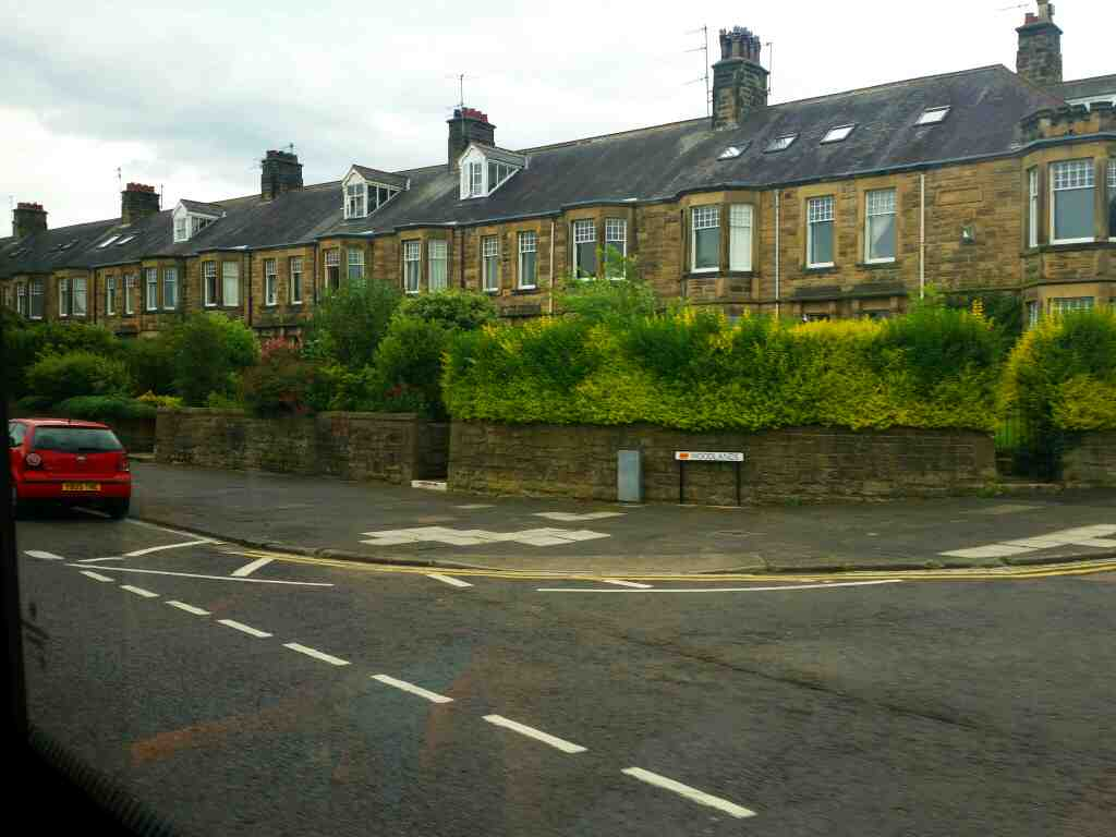 Junction of Monks Terrace and the A695 Hexham on a 685 Carlisle Newcastle bus