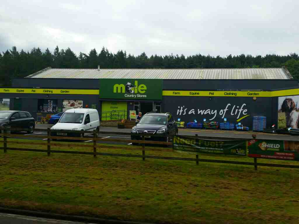 Passes Mole Country Stores Hexham on a 685 Carlisle Newcastle bus
