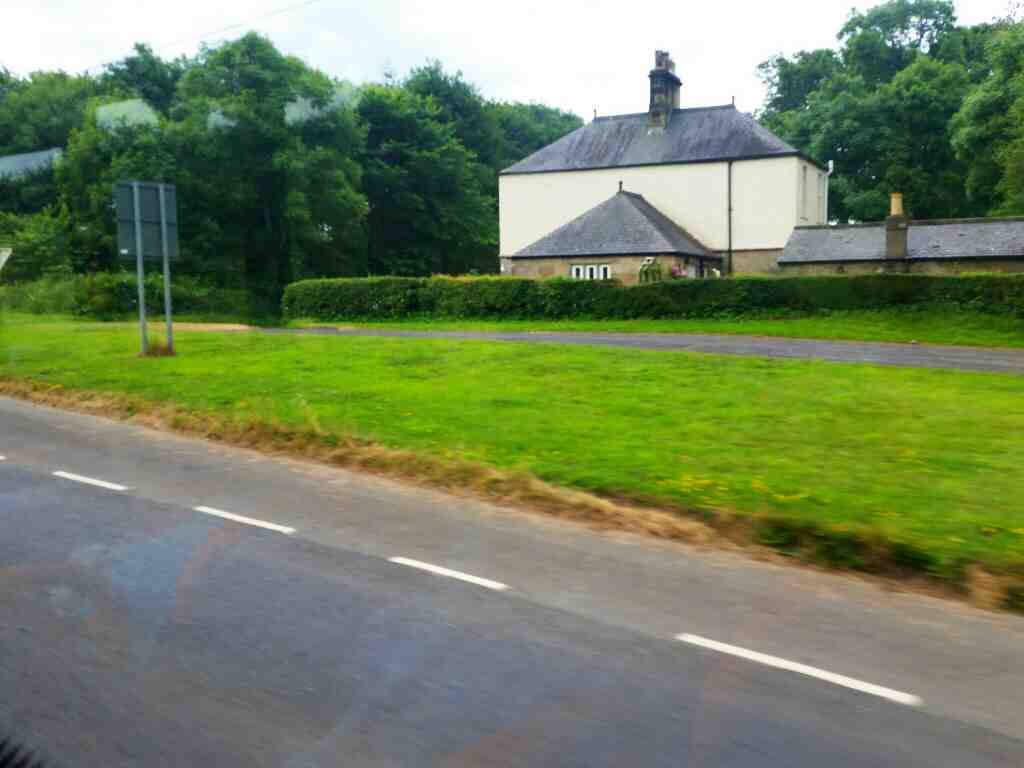 Junction of the B6530 and an unamed road signed Styford and Bywell east of Corbridge on a 685 Carlisle Newcastle bus