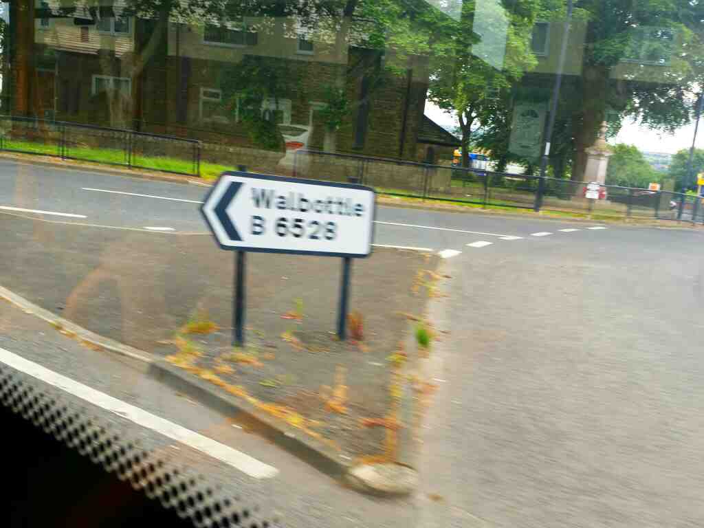 Walbottle sign Throckley on a 685 Carlisle Newcastle bus