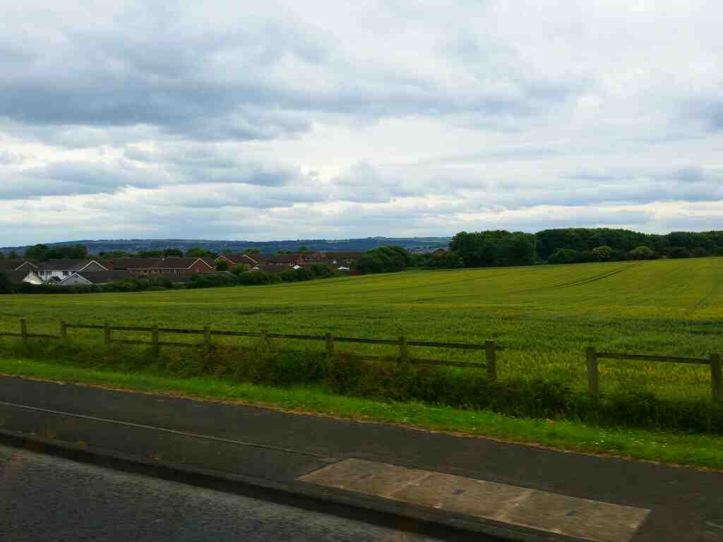 Views across the Tyne Valley on the outskirts of Newcastle from the B6528 on a 685 Carlisle Newcastle bus