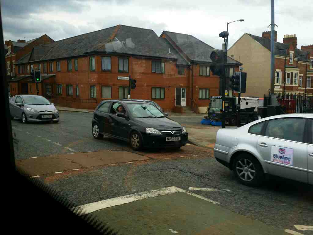 Junction of West Rd and Condercum Road on a 685 Carlisle Newcastle bus