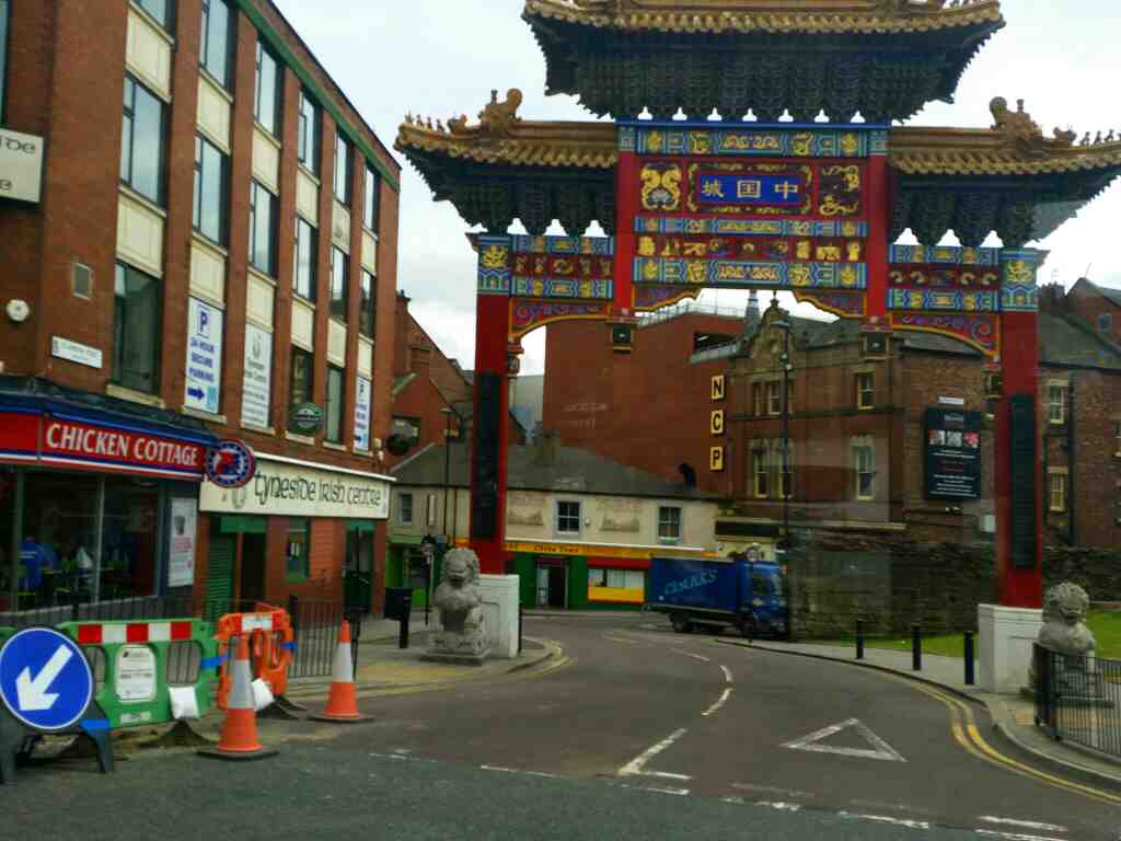 Chinese Arch junction of St Andrews St and Gallowgate Newcastle and Tyneside Irish Centre on a 685 Carlisle Newcastle bus