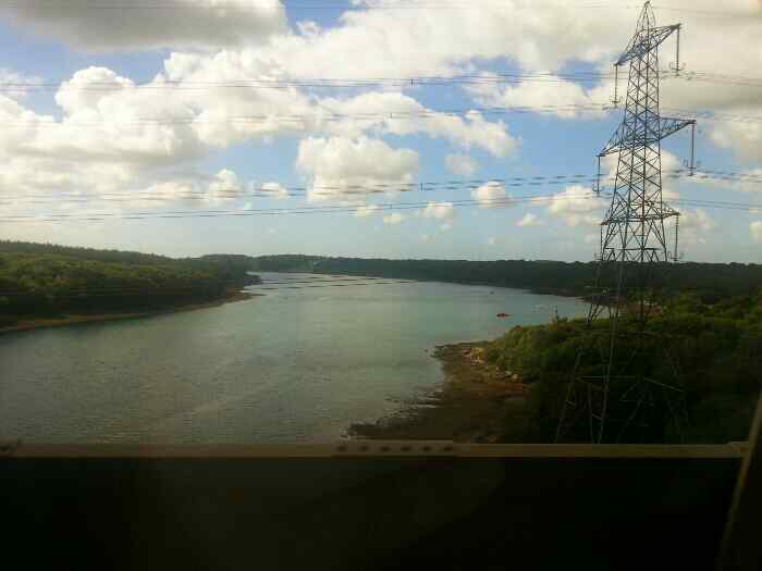 View of the Menai Strait from the left hand side of the train as we cross the Britannia Bridge