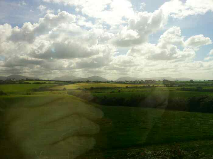 Snowdonia from Anglesey on a train