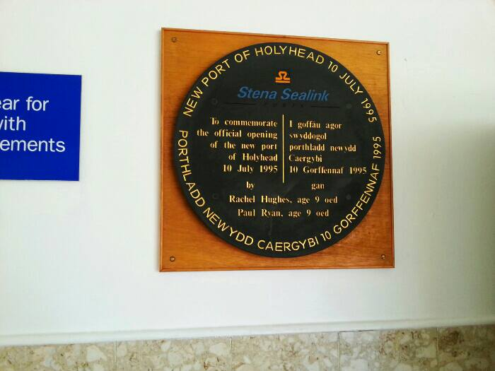 Plaque commemorating the opening of the new ferry terminal in 1995. This means the old modernised terminal was only in use for 4 years