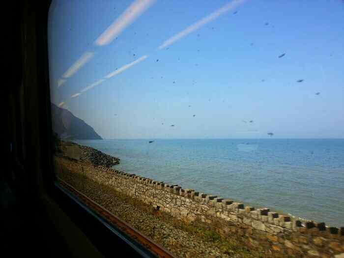 Pen-y-Clip headland from the train