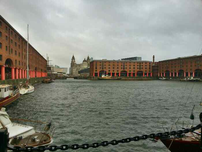 Looking towards the Liver Building and the Liverpool Mueseum from the Albert Dock