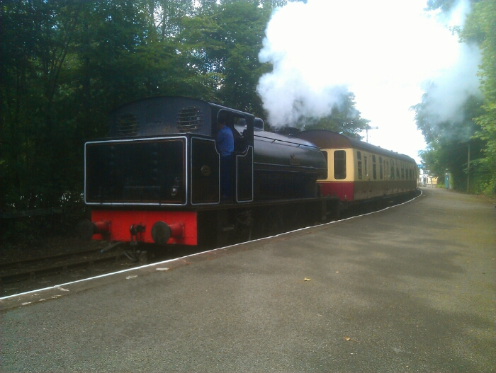 The 15.45 train departure to Haverthwaite leaving Lakeside.