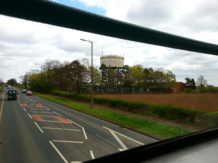 Passing a water tower between Edenthorpe and Hatfield on the A18