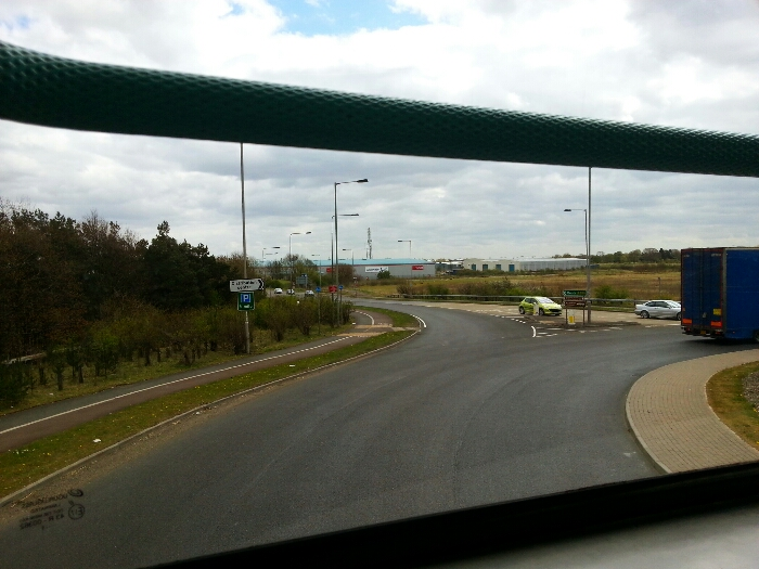 Turning onto the road into Goole at junction 36