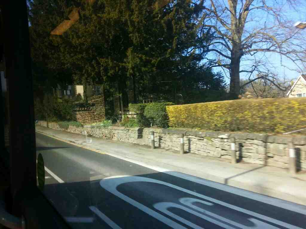 Approaching Cromford on the A6 Derby Rd on a Transpeak bus