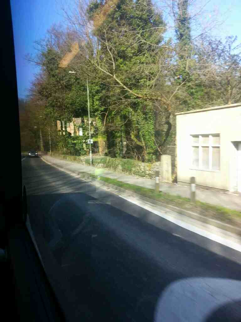 Between Cromford and Matlock Bath on the A6, Derby Rd on a Transpeak bus