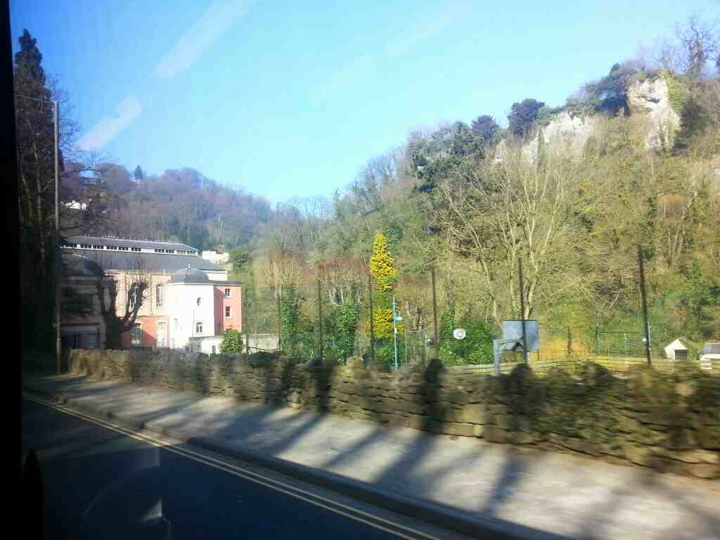 Approaching Matlock Bath on Derby Rd the A6 on a Transpeak Bus