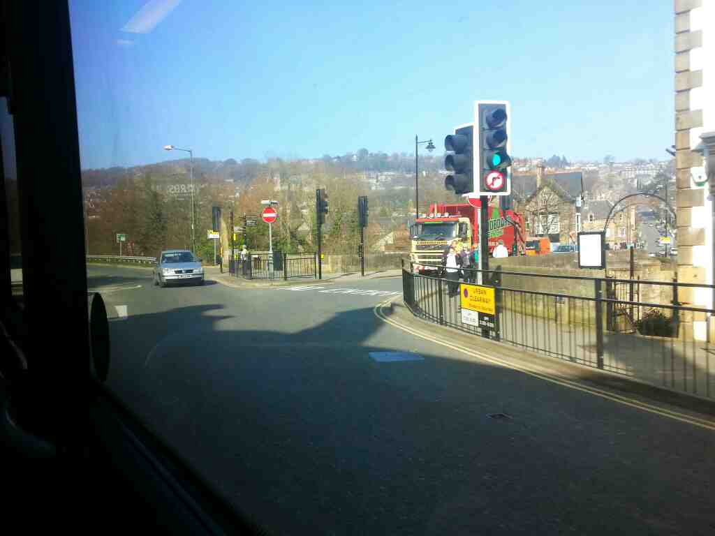 Junction of Matlock Bridge Dale Rd and Derwent Way Matlock on a Transpeak bus