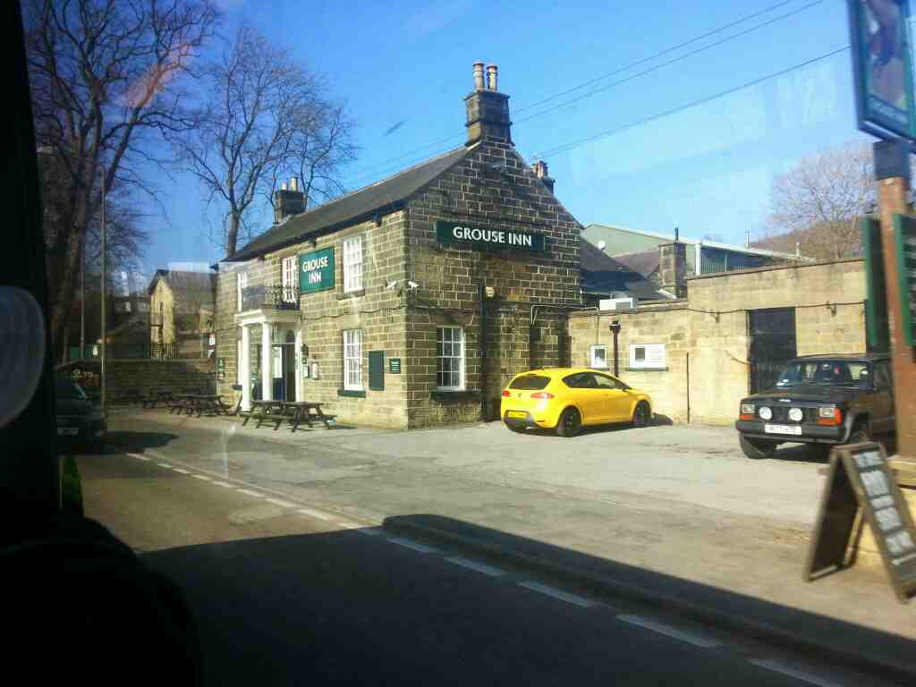 Passes the Grouse Inn Darley Dale Dale Rd North the A6 on a Transpeak bus