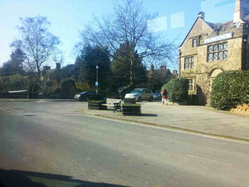 Junction of Dale Rd North the A6 and Church Lane Rowsley on a Transpeak bus