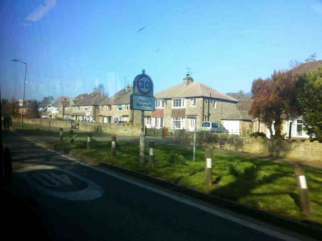 Entering Bakewell on Haddon Rd the A6 on a Transpeak bus