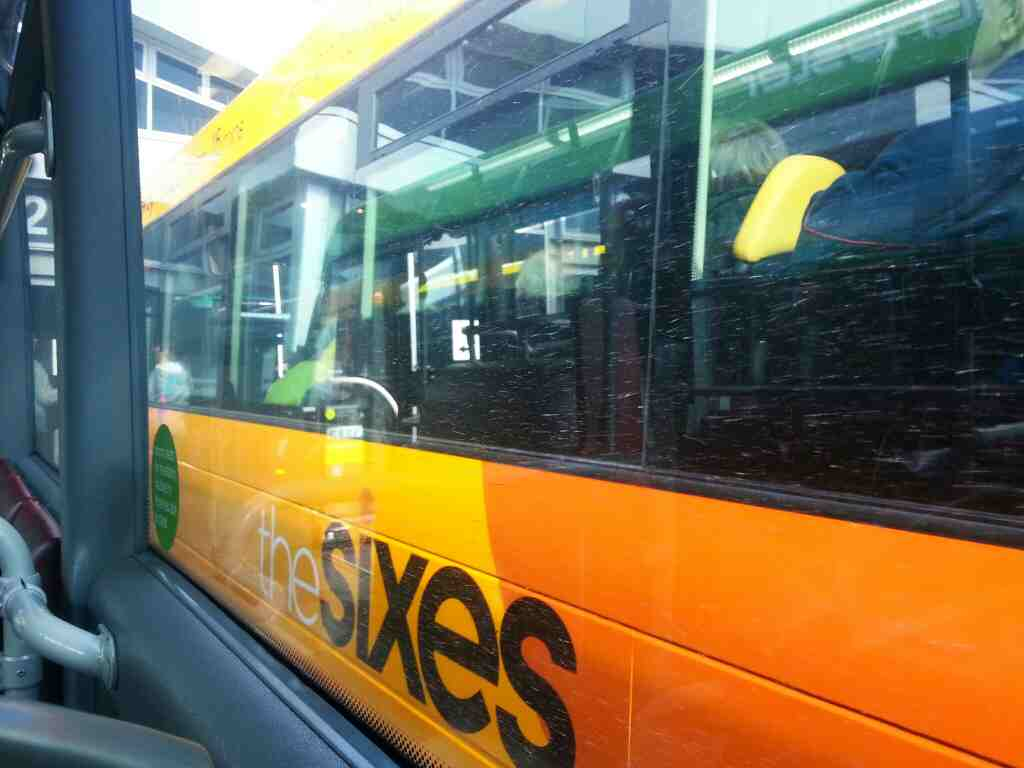 A Sixes bus in Derby bus station filmed off a Transpeak Derby to Manchester bus