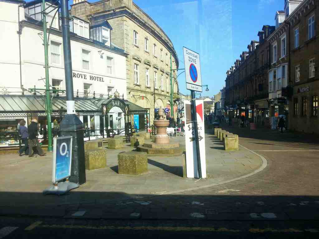 Junction of Spring Gardens and Terrace Rd Buxton off a Transpeak bus