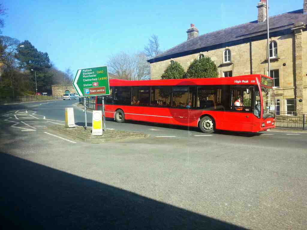 Turning onto Station Rd Buxton on a Transpeak bus