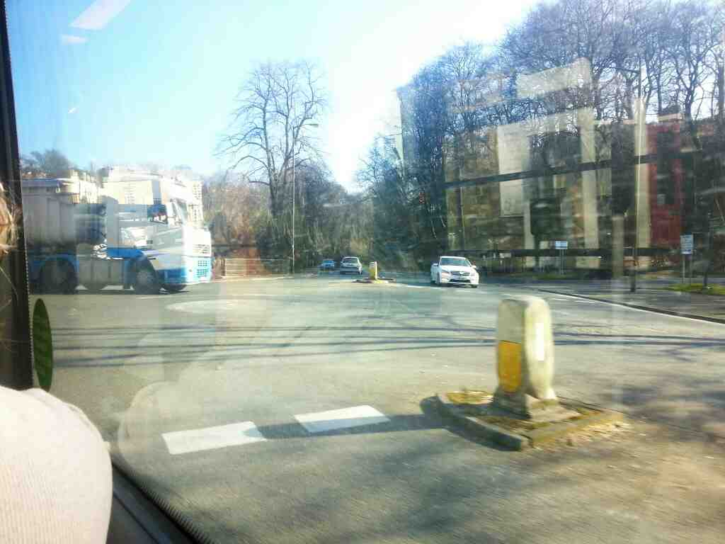 Junction of the A6 Bakewell Rd the A6 Fairfield Rd and Spring Gardens Buxton on a Manchester bound Transpeak bus