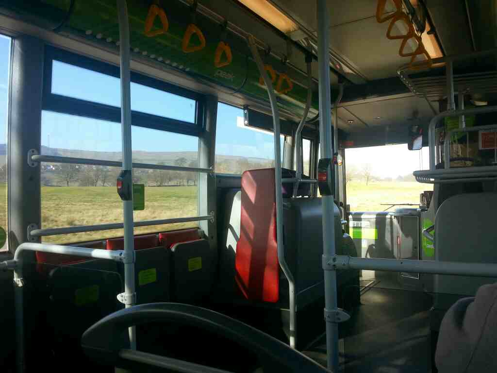 Traveling along the A6 on a Transpeak bus