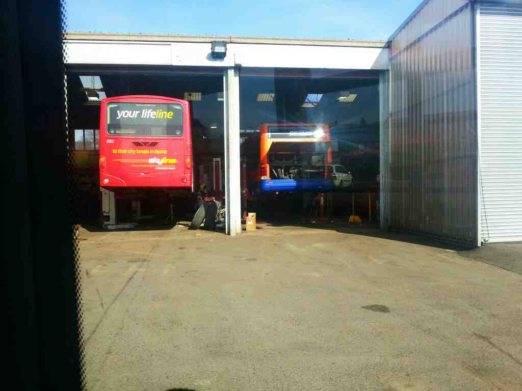 High Peak Buses Depot Dove Holes and a Skyline bus with no wheels