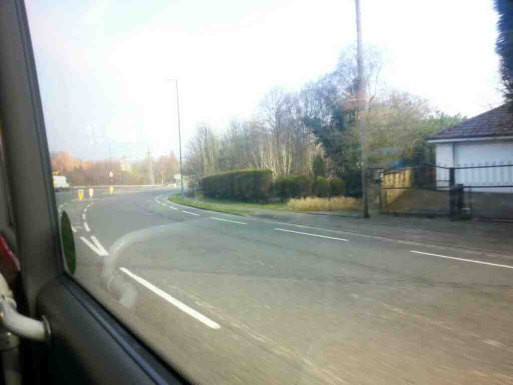 Heading along Duffield Rd the A6 on a Transpeak bus