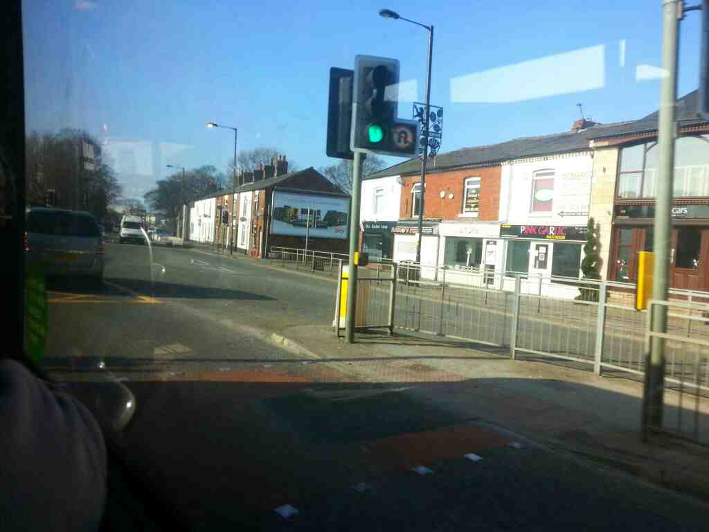 Junction of Buxton Rd the A6 and Macclesfield Rf the A525 Hazel Grove on a Transpeak bus