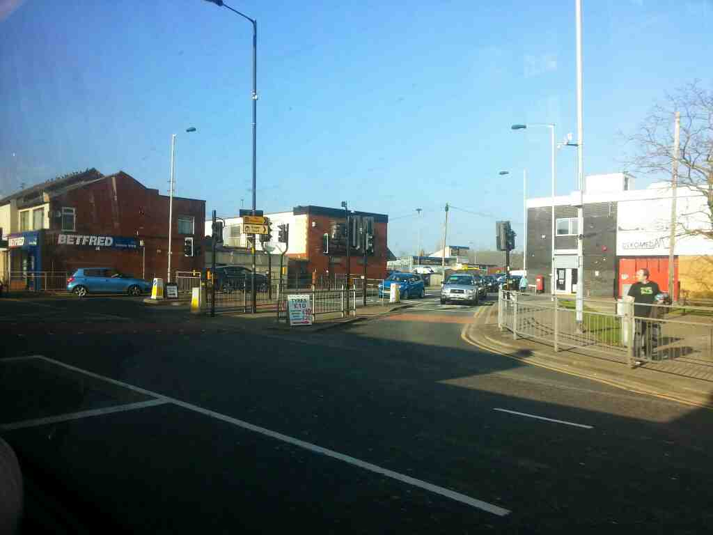 Junction of London Rd.the A6 and Lyme St Hazel Grove off a Transpeak bus