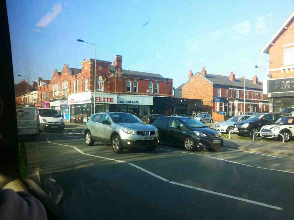 Junction of Regent Rd and Buxton Rd the A6.Stockport from a Transpeak bus