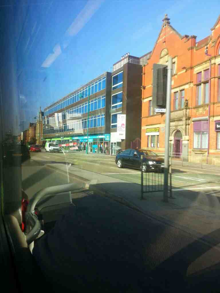 Heading into Stockport town centre on Wellington Rd South the A6 on a Transpeak bus