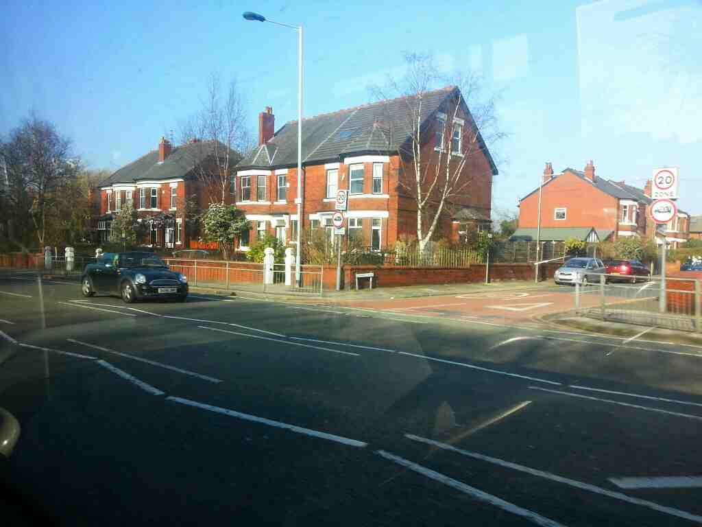 Junction of Glenfield Rd and Wellington Rd North the A6 on a Transpeak bus