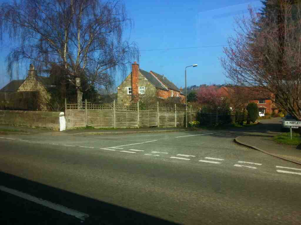 Junction of Hayley Croft and Derby Road the A6 Duffield taken off a Transpeak bus