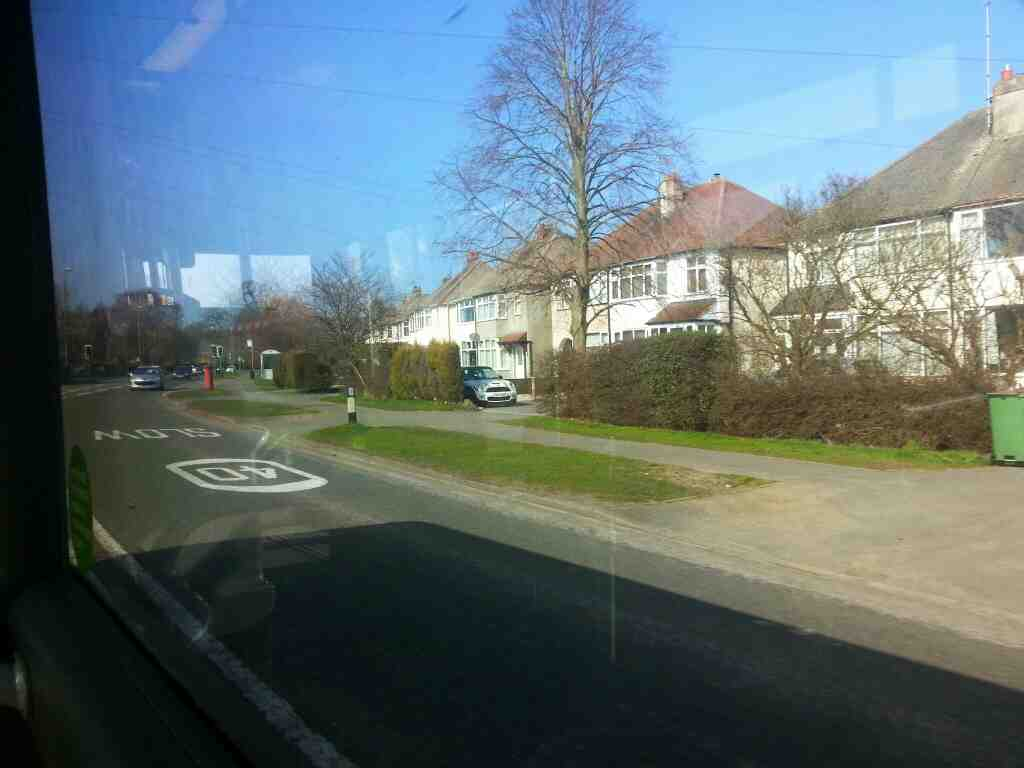 Derby Road Duffield Derbyshire on a Transpeak bus bound for Manchester