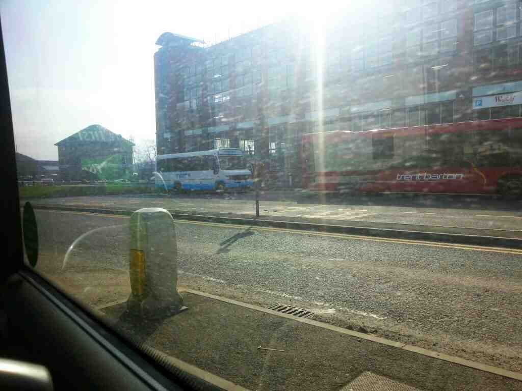 Making our way out of Derby bus station on a Transpeak Bus
