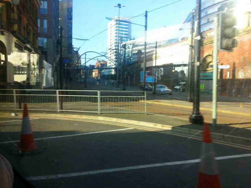 Junction of Whitworth St and London Rd the A6 Manchester off a Transpeak bus