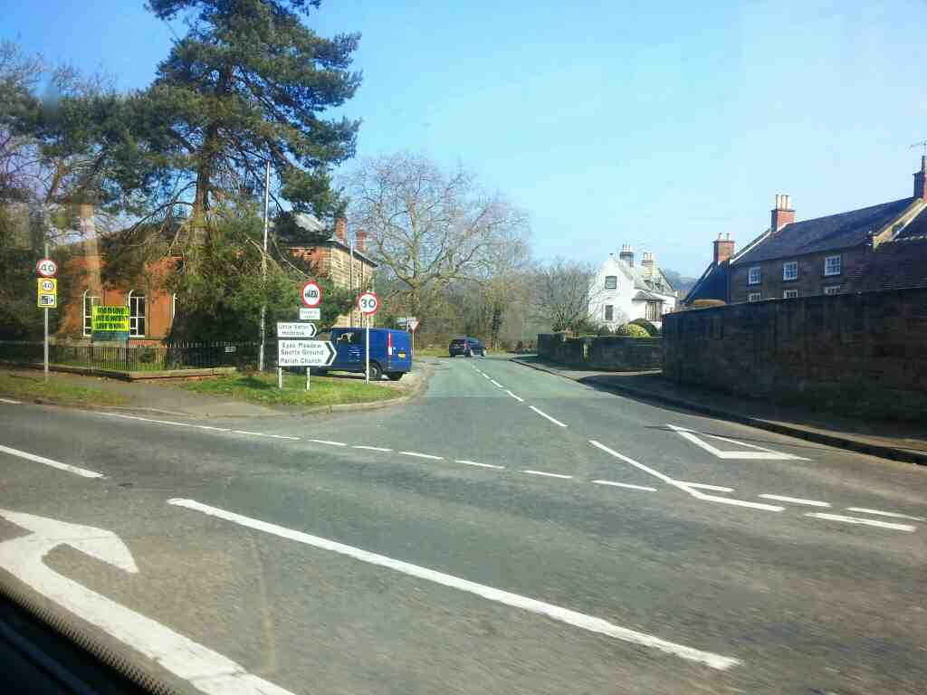 Junction of Derby Rd the A6 amnd Makeney Rd Duffield off a Transpeak bus