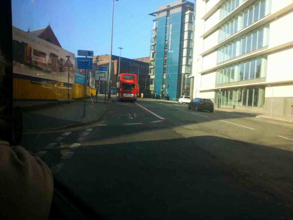 Junction of Aytoun St the A6 and Minshull St Manchester City Centre off a Transpeak bus