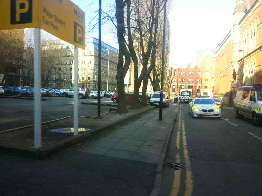 Junction of Minshull St and Bloom St Manchester off a Transpeak bus
