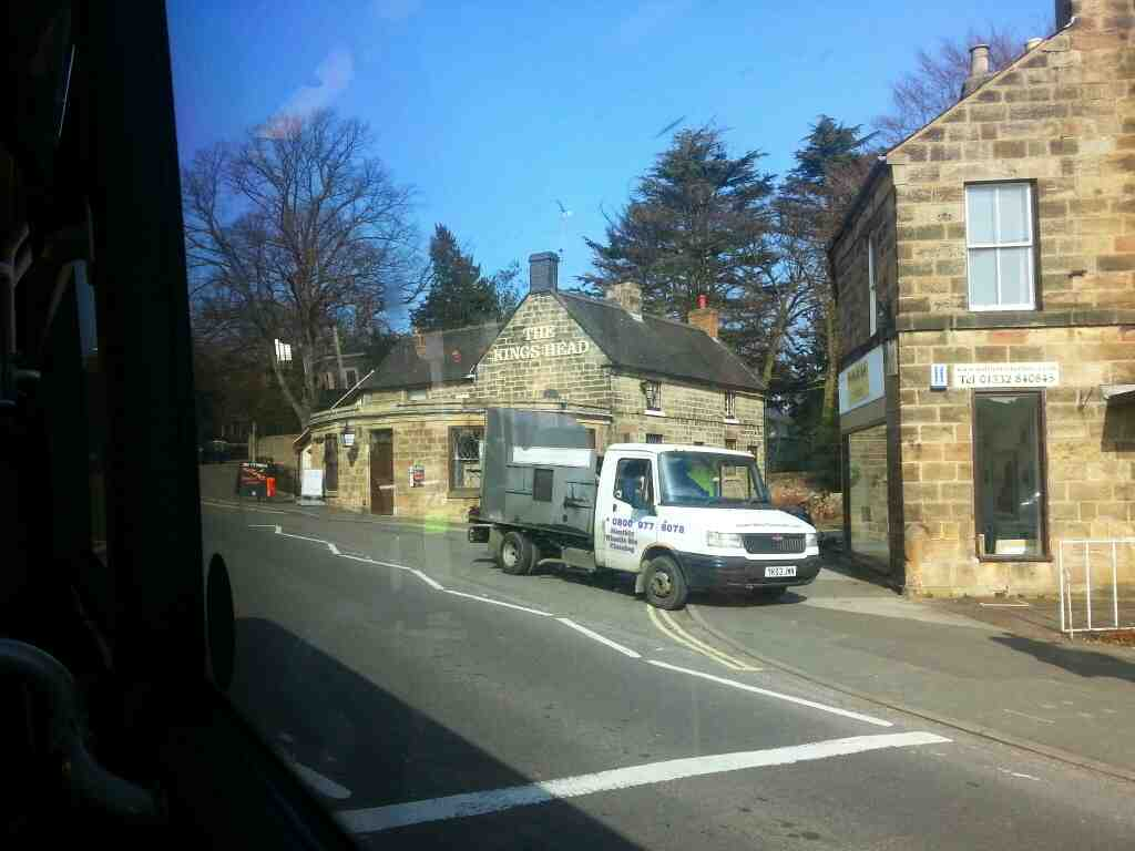 Passes the Kings Head pub Town St the A6 Duffield on a Transpeak Bus
