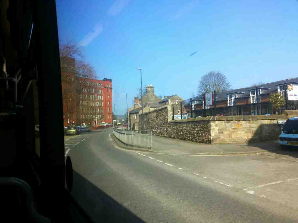 Passes the Junction of Long Row and Bridge St the A6 Belper on a Transpeak bus