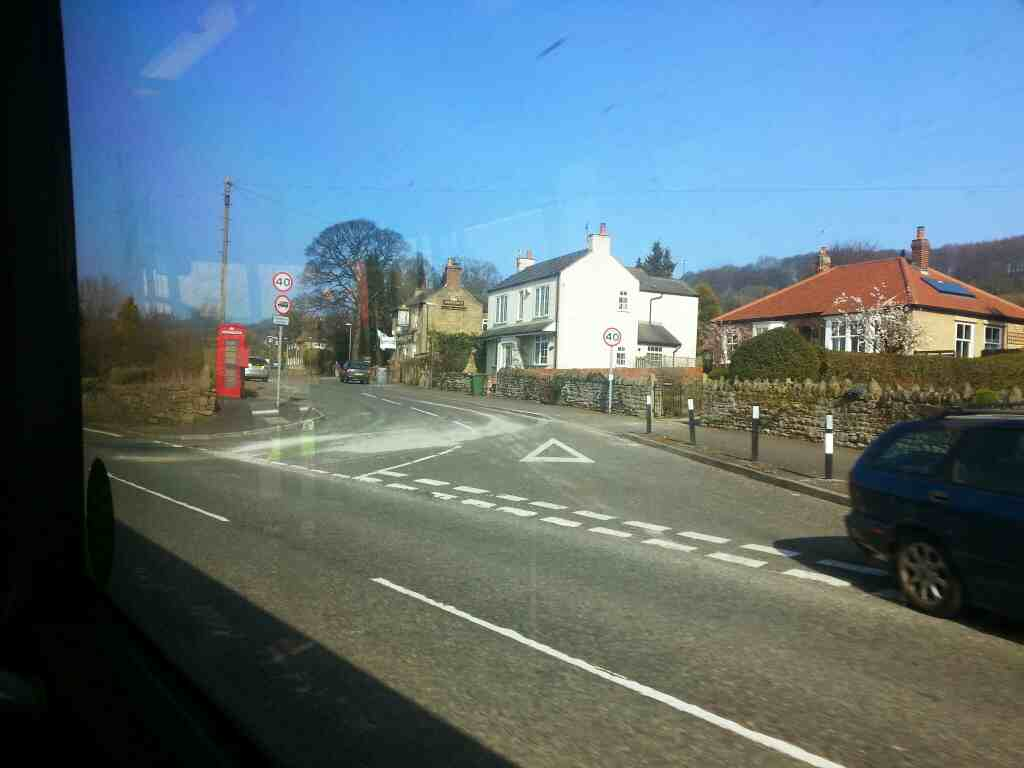 Junction of Broadholme Lane and Matlock Rd the A6 near Ambergate off a Transpeak bus