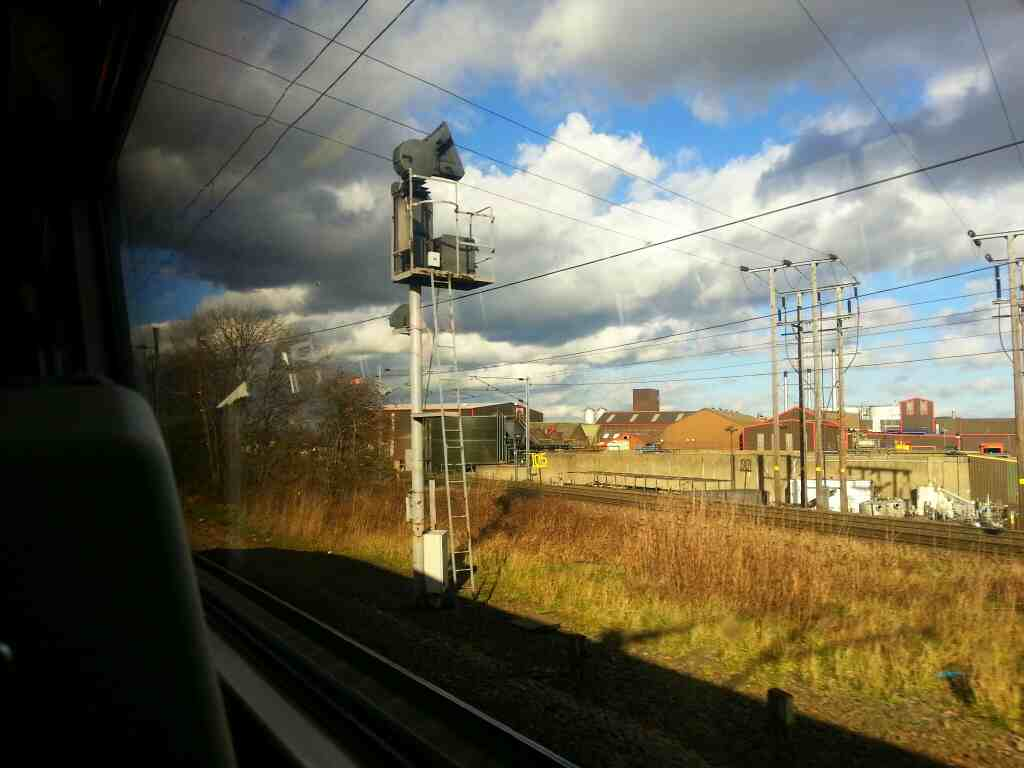 Leaving the East Coast Mainline on the railway line to Leeds on a Northern Rail Doncaster to Leeds train